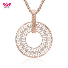 Geometric Round Circle Necklace & Pendant Full CZ Crystal 3 Colors Long Chains collar For Party mujer Jewelry EU dropshipping(China)