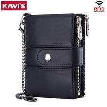 KAVIS 100% Genuine Leather Rfid Men Wallet Wallets