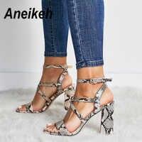 Aneikeh 2019 été nouveau chaussures en polyuréthane femmes sandales Sexy bout ouvert gladiateur talons hauts femmes chaussures grande taille 41 42 Sandalias mujer