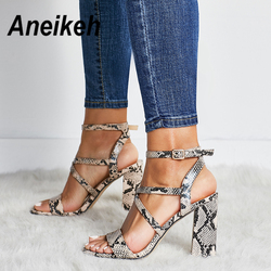 Aneikeh 2019 Summer New PU Shoes Women Sandals Sexy Open Toe Gladiator High Heels Women Shoes Big Size 41 42 Sandalias mujer 1
