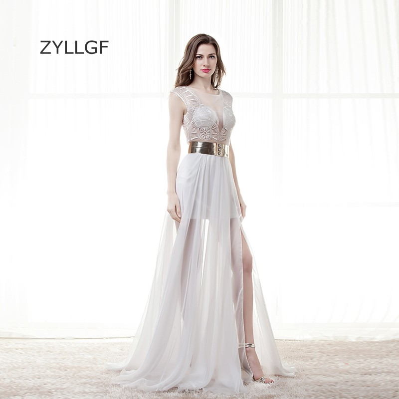 Wedding Party Dress 2019 Fashion Zyllgf Mother Dresses On Sale Sheath Sleeveless Embroidery Sexy See Through Formal Party Dress Side Slit With Gold Sash Q136 Comfortable And Easy To Wear