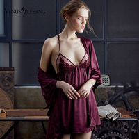 VENUS'S BLESSING Lace Sexy Suit Embroidered Cross back Sling Sleeping Wear Night Slip Dress Braces Woman Night Skirt Ladies