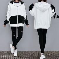 5xl Loose Thin Letters Print Hooded White Sweatshirts Jacket Female Fleece Q0065