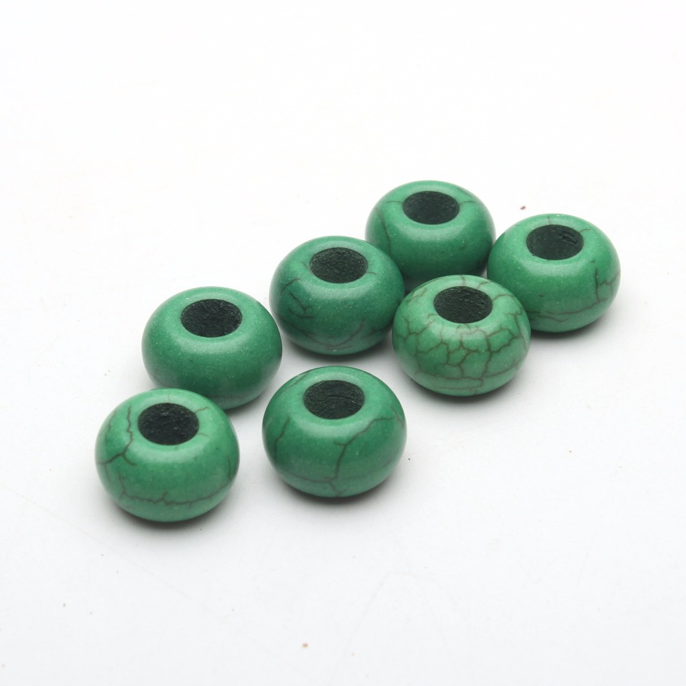 For 5mm leather green stone big hole beads Jewelry supply Findings Components D-5-5-77