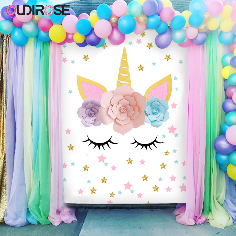 Hot Unicorn Paper Flower Unicornio Horn Ears Birthday Party Decoration Tools Creative Gifts Leisure Entertainment Party Supplies