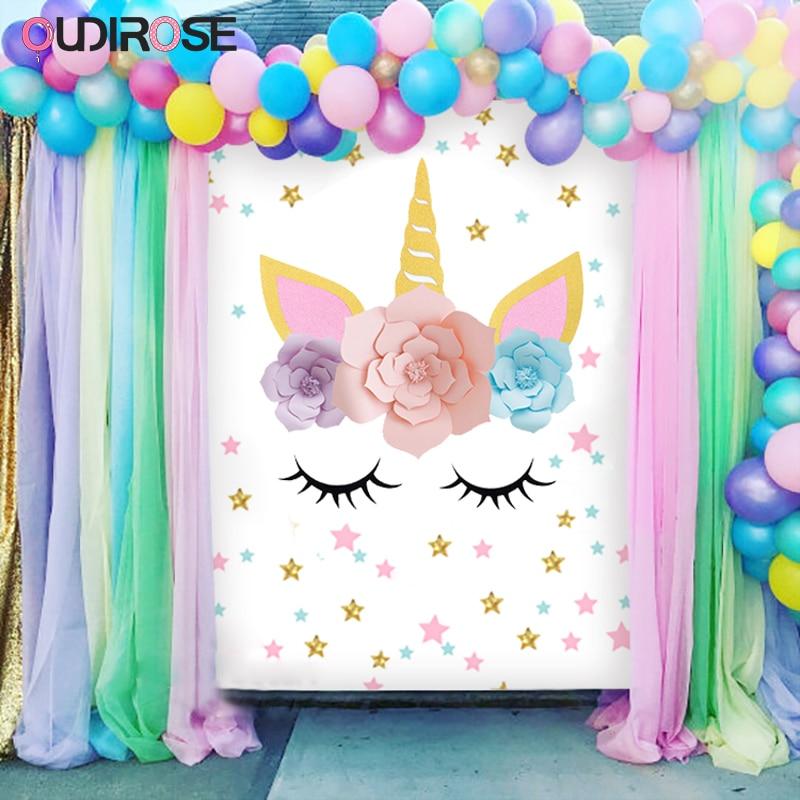 Hot Unicorn Paper Flower Unicornio Horn Ears Birthday