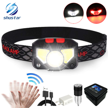 Super bright LED Headlamp Built-in inductive sensor rechargeable headlight with USB charging cable For running, fishing, etc