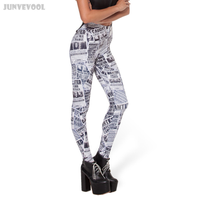 Star Leggings Newspaper Printed Women's Black & White News Reported Printed Stretch Skinny Elastic Trousers Slim Pencil Pants