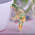 Высокое Качество Птица Животное Воротник Эмаль Броши Женская Мода Joias Блестящий Бренд Большой Свадебный Броши Золото Хиджаб Аксессуары