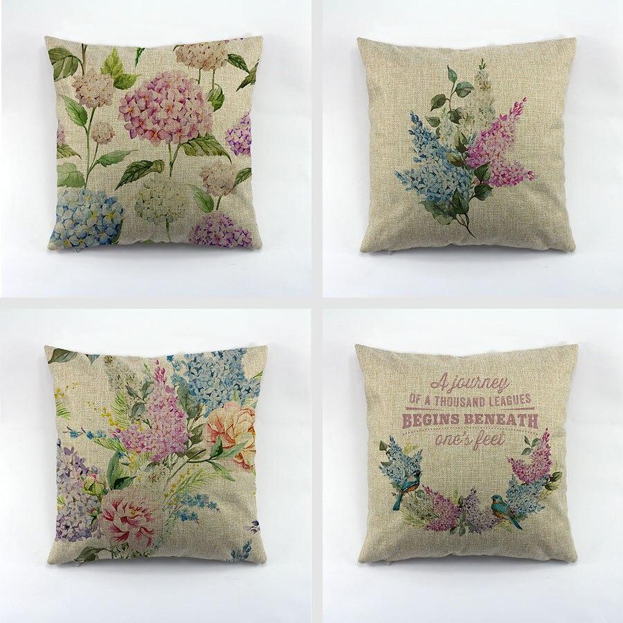 Motif de fleur de printemps imprimé couverture de coussin taie d'oreiller en Liene Design fleur européenne pour siège de voiture