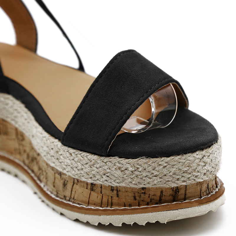 HTB1RI4lXN2rK1RkSnhJq6ykdpXaw Summer White Wedge Espadrilles Women Sandals Open Toe Gladiator Sandals Women Casual Lace Up Women Platform Sandals