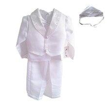 ДЕТСКИЕ WOW Белый Новорожденный Мальчик Одежды Крещение Крещение Платья Рождество Первый День Рождения Свадебный Комплект Одежды 80685C