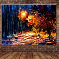 Hand Painted Abstract Palette Knife Forest Landscape Canvas Oil Painting Forest Lamp Wall Picture Living Room Home Wall Decor