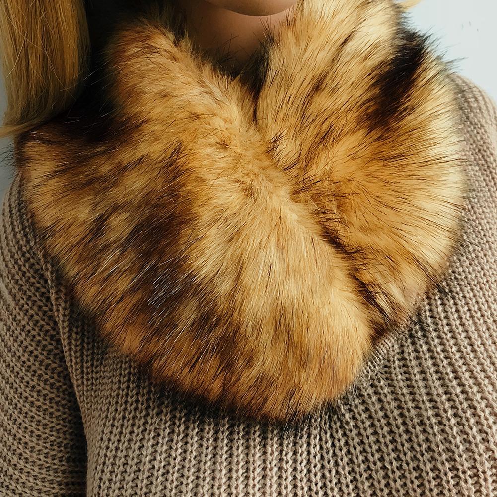 Himanjie Women Warm Faux Fur Scarf Colorful Fashion 57cm Length Fur Women Scarves Winter 2018 cachecol