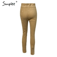 Simplee ruffle waist women corduroy pants Ladies bottoms female trouser casual 2018 autumn pencil pants high waist trousers