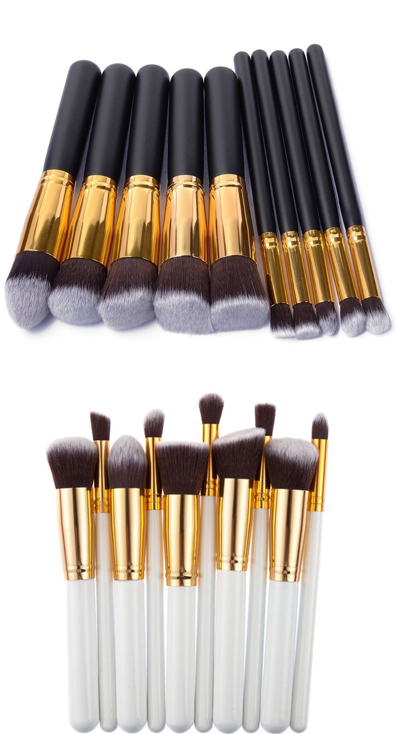 Conjunto 10 Pcs Prata/Dourado de Pincéis para maquiagem