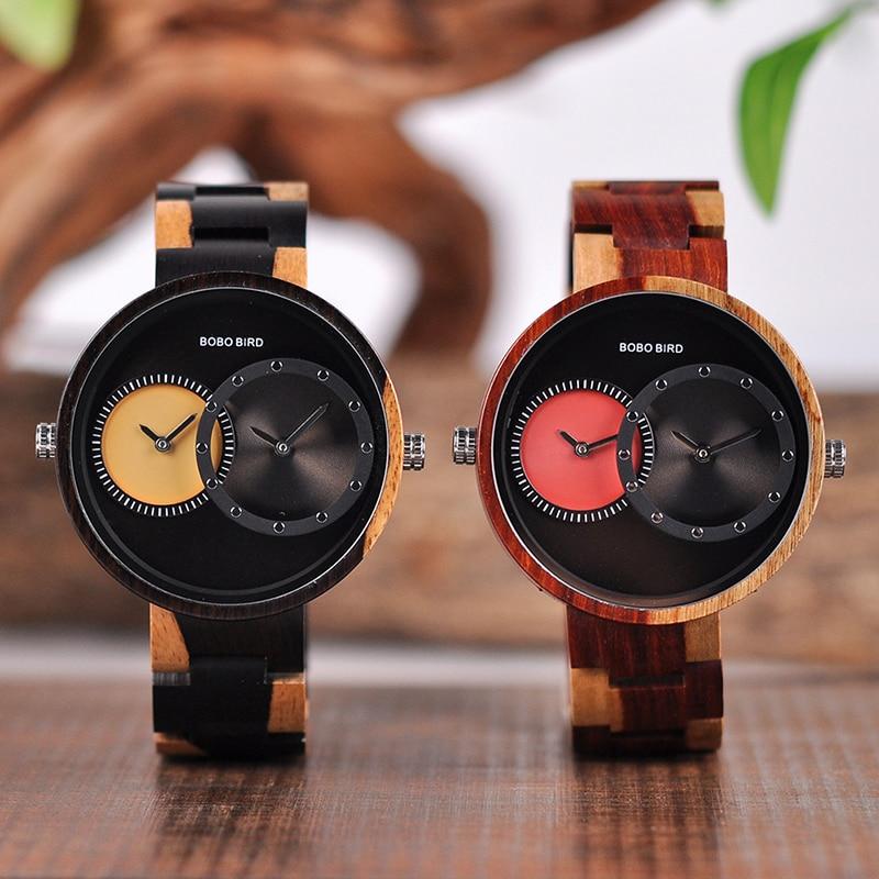 relogio masculino BOBO BIRD Watch Men 2 Time Zone Wooden Quartz Watches Women Design Men's Gift Wristwatches In Wooden Box W-R10 12