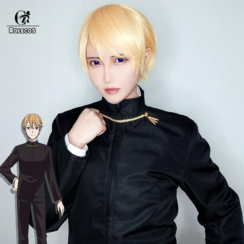 ROLECOS Kaguya-sama: Love is War Cosplay Headwear Miyuki Shirogane Cosplay Hair Short Straight Yellow Hair 30cm Men Headwear
