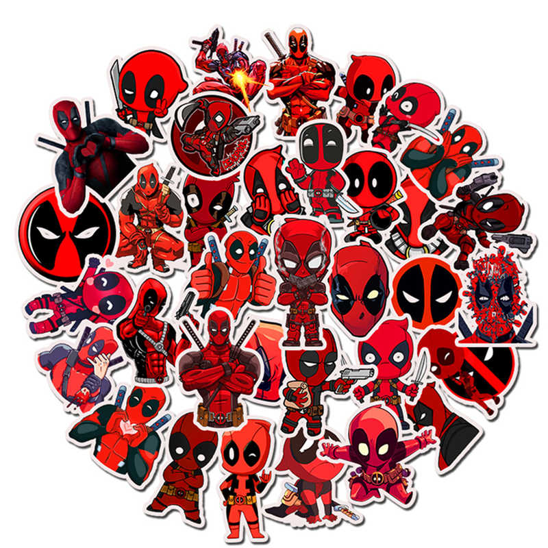 35Pcs deadpool Legal Brinquedo The Avengers MARVEL Super Hero Adesivos homem De Ferro Etiqueta Bomba Para Bagagem Skate Laptop Notebook carro