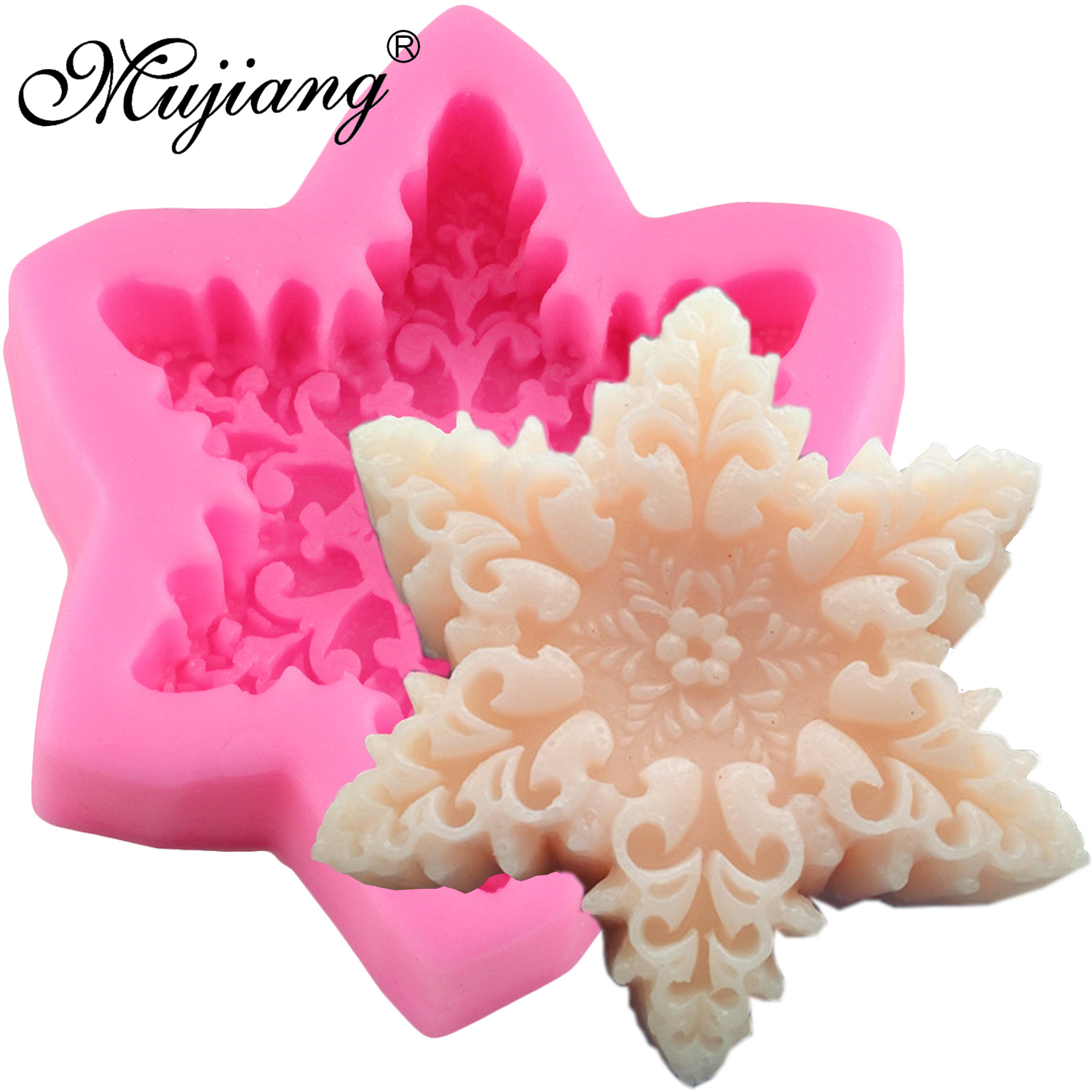 Mujiang DIY Snowflake Candle Silicone Mold Resin Clay Soap Molds Gumpaste Mould Christmas Fondant Cake Decorating Tools