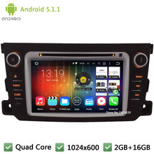 Quad core 2Din FM WIFI Android 5.1.1 7″ 1024*600 Car DVD Player Radio Audio Stereo Screen GPS PC For Benz Smart Fortwo 2011-2014