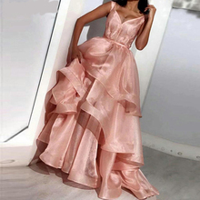 Verngo Tiered Organza Evening Dress V-neck Pink Formal Custom Size Gown Abendkleider