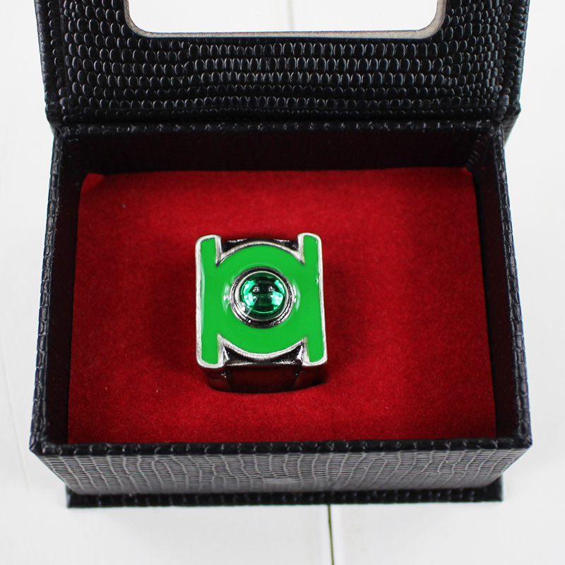Anime Green Lantern Ring Stainless Steel Jewelry with Crystal Toy Figures Brinquedos In Box Collectible Gifts 2cm