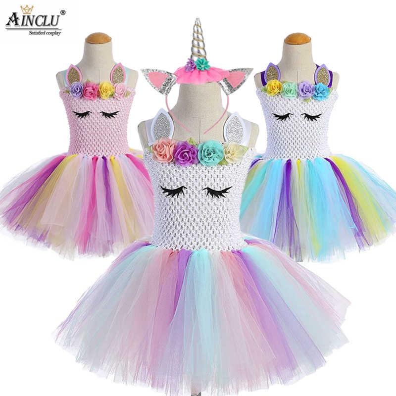 1-12Y Free Hair+ Girls Unicorn Tutu Dress Rainbow Princess Kids Party Dress  Girls Christmas 91342da1152d