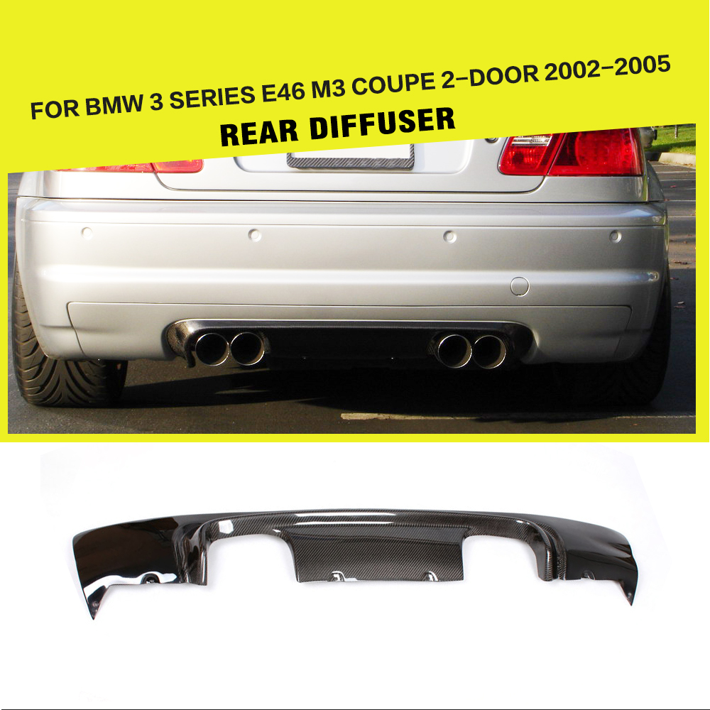 Carbon Fiber Rear Bumper Diffuser Lip Spoiler for BMW 3 Series E46 M3 Coupe 2 Door 2002 2005 Car Styling