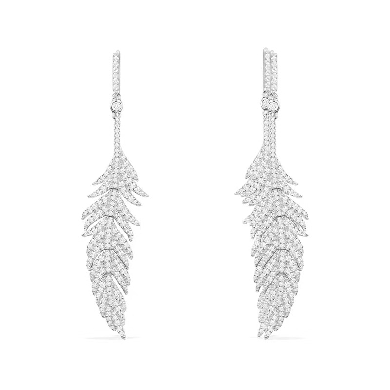 top quality 925 Sterling Silver jewelry feather earrings cz stones leaves earrings tassels same as original quality