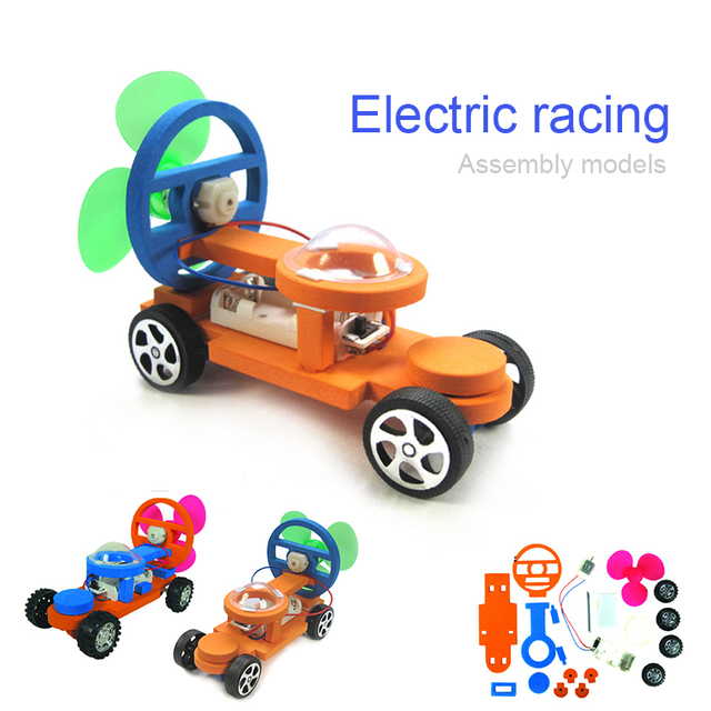 electric wind powered racing car diy assembly toy kit science kid educational learning experiment toy model