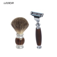 2pc/set Badger Shaving Brush With Beard Safety Straight Razor with Stainless Steel Acrylic Handle