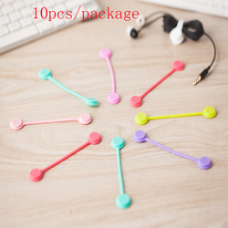 HOT sale,10pc/lot Soft Silicone Magnetic Wire Cable Organizer Key Cord Earphone Storage Holder Clips Cable Winder For Data Cable