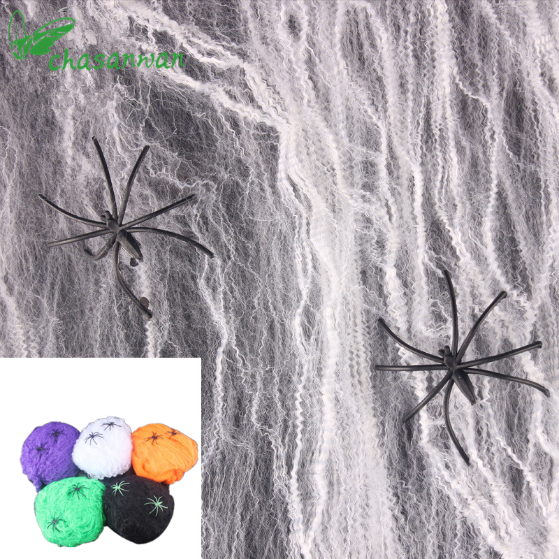chasanwan halloween party decoration scary party supplies white stretchy spider web horror diy cobweb prop for