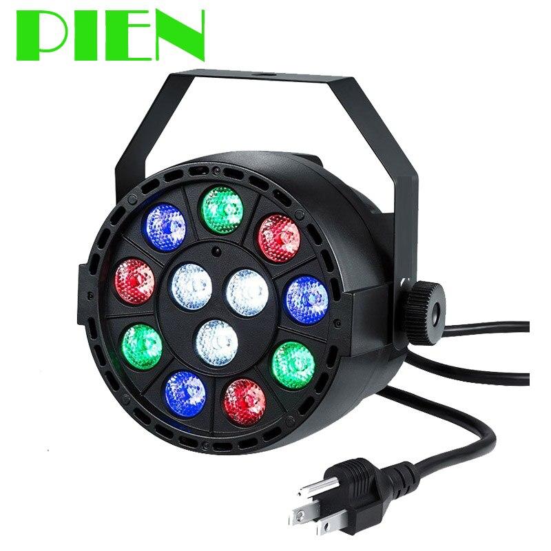 RGBW Par light Disco lamp flat 15W DMX512 for DJ Club Parties Ballroom KTV with Sound activate 110V 220V Free shipping