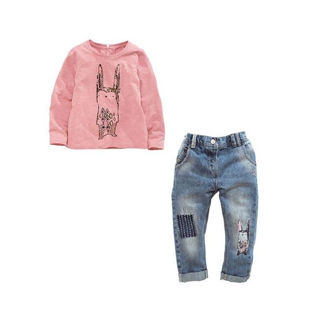1-5 anos Meninas Do Bebê Define 2016 Coelho Primavera Outono Esportes de Impressão camisa de Manga Longa t + calças de brim 2 pcs conjunto terno Meninas Roupas