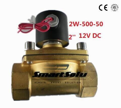 Бесплатная доставка 2 дюймов 12 В постоянного тока латунь Электрический электромагнитный Клапан Газ Вода Воздух, нормально замкнутый (nc)