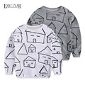 Hot Sale 2017 Unisex Baby Kids House Printed Cotton Long Sleeve Pullover T shirt Children Fashion Spring Top Sweatshirt Clothes