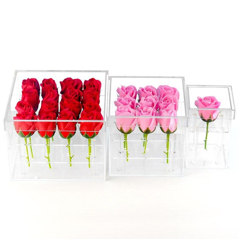صندوق هدايا عيد الحب صندوق منظم ماكياج من الأكريليك الشفاف علبة مستحضرات التجميل صندوق زهور وردية مع غطاء صندوق تخزين من الأكريليك