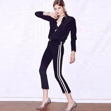 Высокая талия джинсы женские тощий flare брюки сторона полосы сращены джинсы усы street пят брюки элегантный плюс размер p45