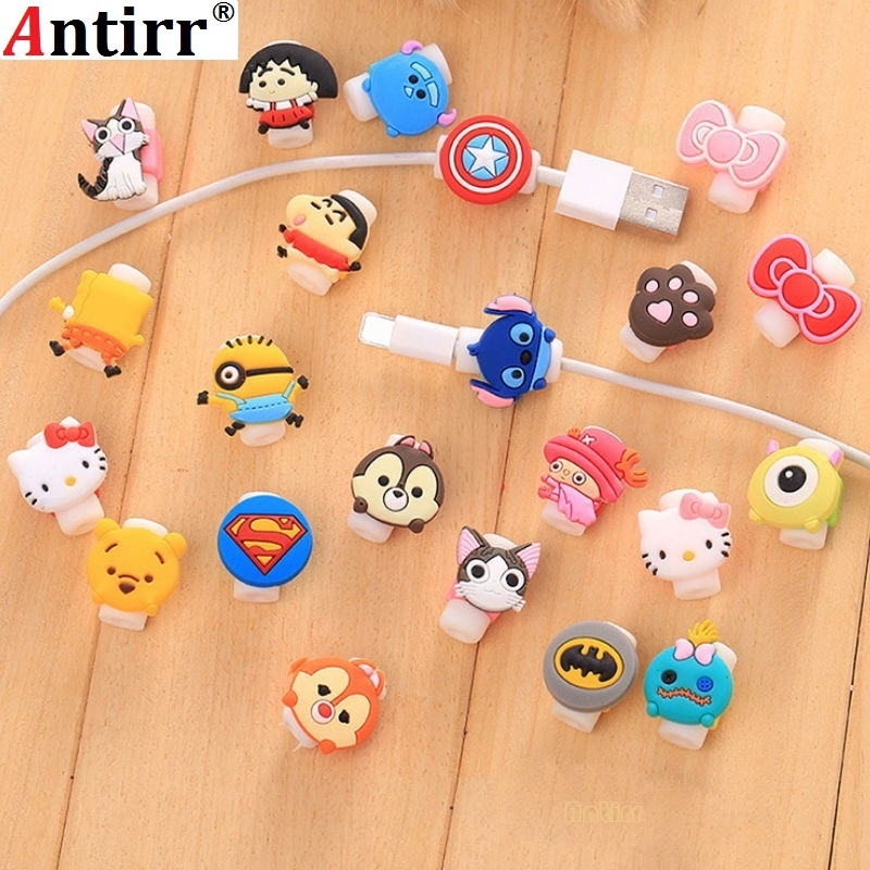 Lovely Cartoon Charger Cable Winder Protective Case Saver 8 Pin Data line Protector Earphone Cord Protection Sleeve Wire Cover(China)