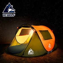 Hewolf outdoor 3-4 Person fully automatic waterproof wild speed open tent camping sun protection camping tent