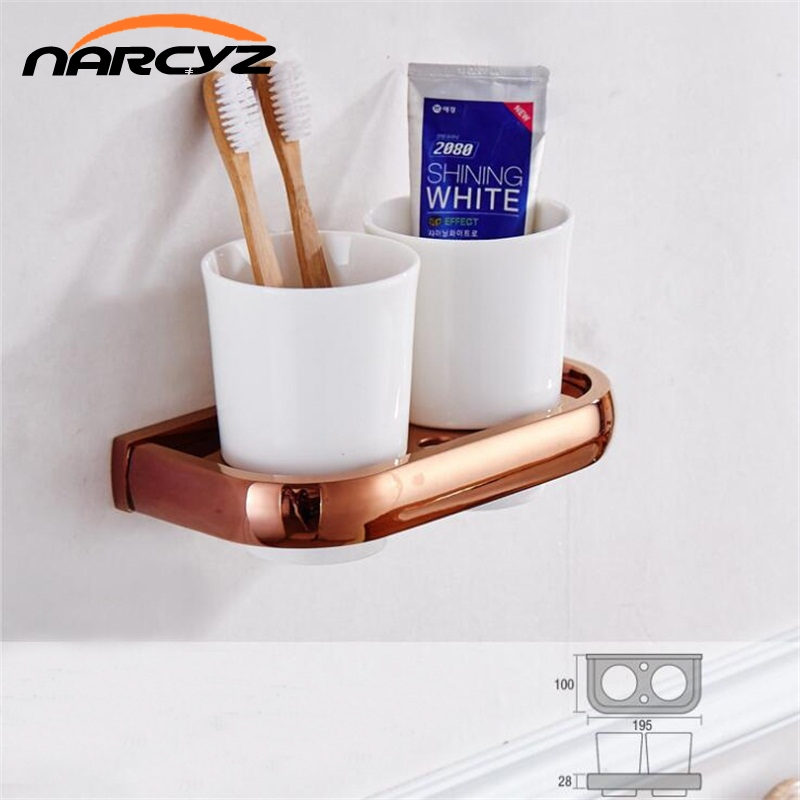 Simple copper plated rose gold toothbrush cup holder golden cup toothbrush set mouth cup toothbrush cup holder 9113K luxury golden brass three cup holder luxury style golden copper toothbrush double tumbler 3pcs cup holder wall bath cup rack