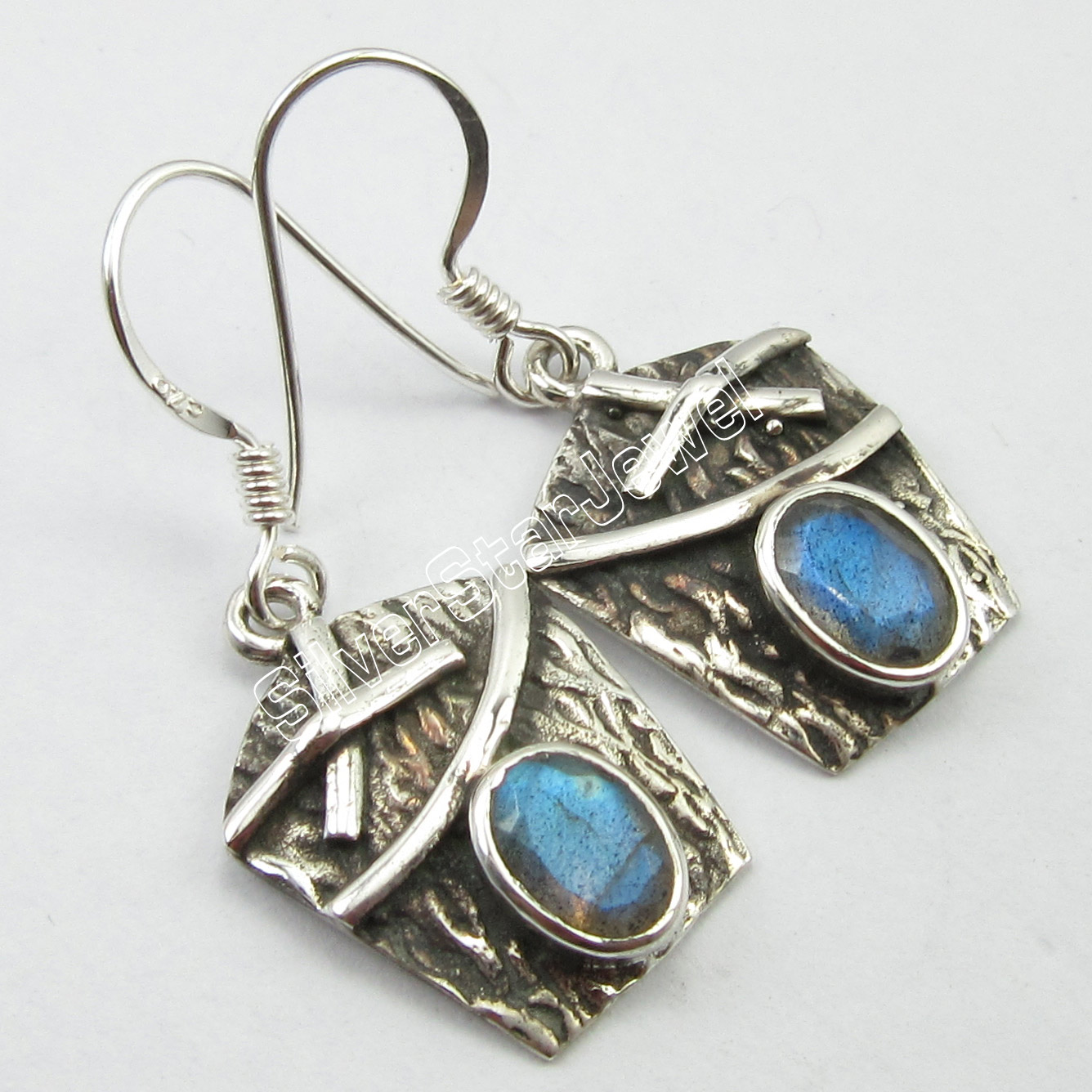 PURE Silver Vintage Inspired NEW Earrings Classic LABRADORITE Jewelry 3 2 CM