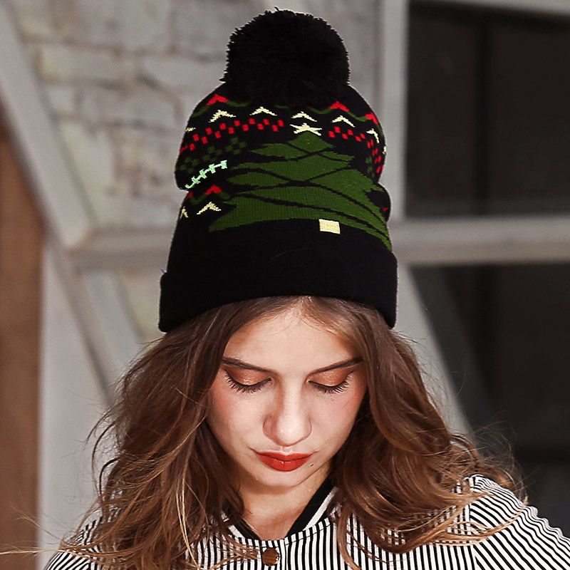 ... XJHOOOO Winter Beanie 2018 Autumn Beanies Women Hats Christmas Tree  Print Pom Pom knitted Hat Bonnet ... 34f93b9be90c
