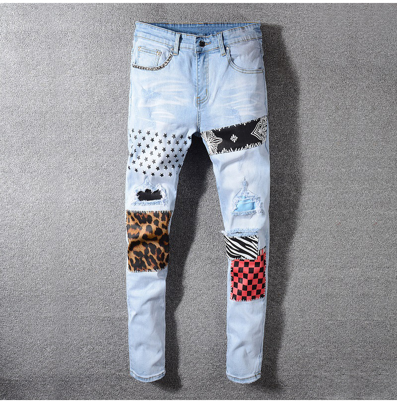 Sokotoo Men's stars printed leopard patchwork rivet slim jeans Light blue holes ripped skinny stretch denim pants Trousers 45