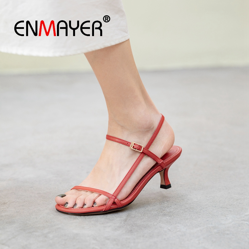 ENMAYER 2019 New Arrival Women Summer Fashion High Heel Sandals Genuine Leather Party Solid Sexy Women Shoes Size 34 43 LY2413 in High Heels from Shoes