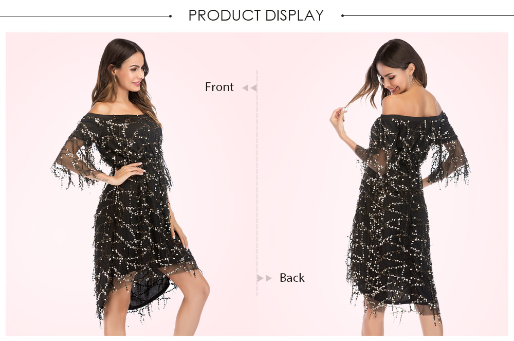 bcba49fd38d25 US $16.71 35% OFF CosMera Sexy Off The Shoulder Party Dress Women Shiny  Sequin Strapless Flare Sleeve Club Dress Red Black Summer Dress Vestido -in  ...