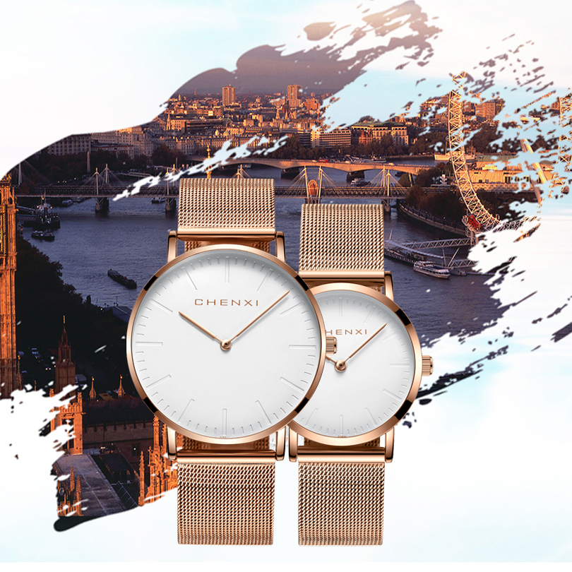 CHENXI Fashion Rose Gold Lover Watches Men High Quality Ultra Thin Quartz Watch Woman Elegant Dress Ladies Watch  Montre Femme