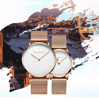 CHENXI Fashion Rose Gold Lover Watches Men High Quality Ultra Thin Quartz Watch Woman Elegant Dress